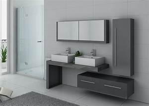 Meuble De Salle De Bain Gris : meuble double vasque gris taupe dis9350gt meuble de salle ~ Dailycaller-alerts.com Idées de Décoration