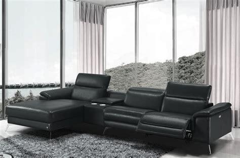 canap 233 d angle en cuir italien 5 places relaxia noir mobilier priv 233