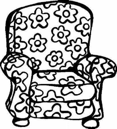 Coloring Chair Pages Colouring Armchair Clipart Fat