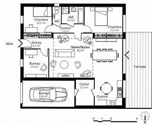 delicieux plan de maison 5 chambres 2 plan maison With plan maison avec patio 0 plan maison carree avec piscine ooreka