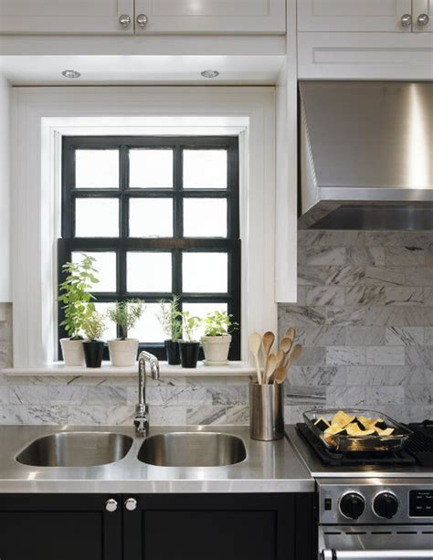 stainless steel countertop transitional kitchen