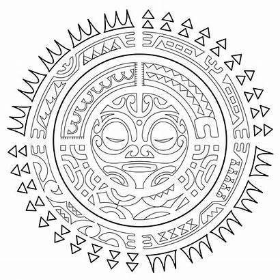 Tattoo Sun Polynesian Coloring Pages Tattoos Mandala