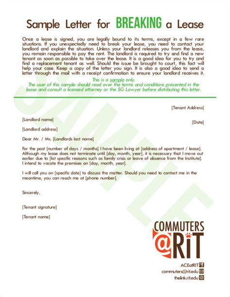 lease termination letter samples templates