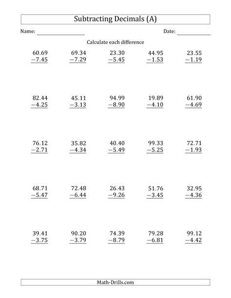 subtracting decimal hundredths with a larger integer part
