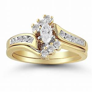 10k yellow gold 38 ctw diamond marquise halo top wedding With yellow gold marquise wedding ring sets