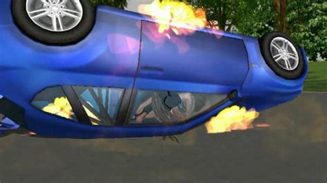 animated wrecked animated car crash and burn wmv youtube