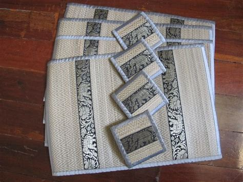 set of 4 gray silver reed placemat and coaster with
