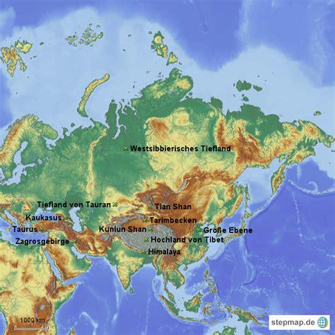stepmap gebirge von asien landkarte fuer asien