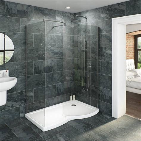 Walk In Bathroom Shower Enclosures by V6 Curved Walk In Shower Enclosure Tray Pack 1400 X 900
