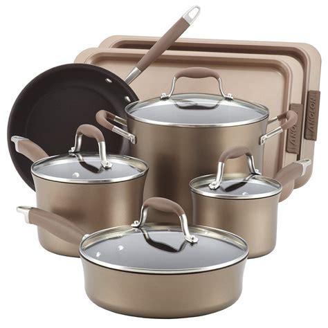cookware piece anolon nonstick bronze advanced bakeware bonus meyer sets pan anodized