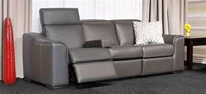 Sofa Inclinable Avec Appui Tete Ajustable Cuir Gris