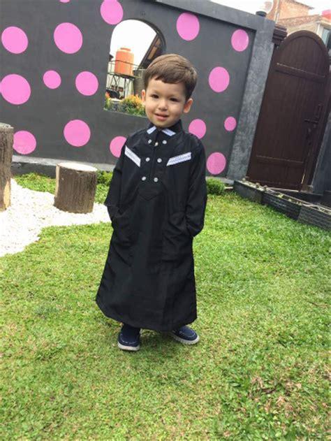 jual baju muslim koko gamis anak arab pria laki syar i hitam 1 sd 12 tahun di lapak simth