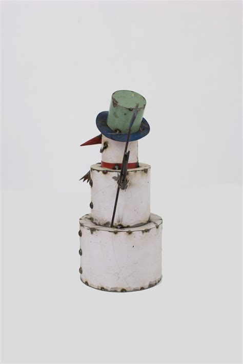 recycled painted iron snowman  bird