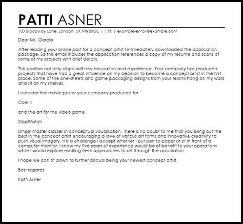 concept artist cover letter sle livecareer