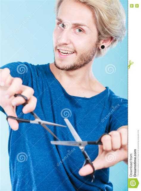 man  scissors  haircutting stock image image