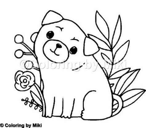 pug dogs coloring page  coloring  miki