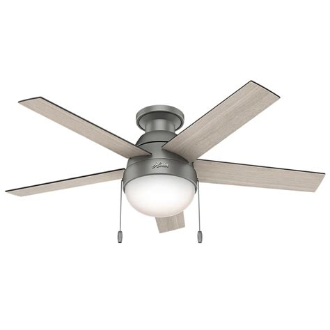 hunter low profile ceiling fan with light hunter anslee 46 in indoor low profile matte silver