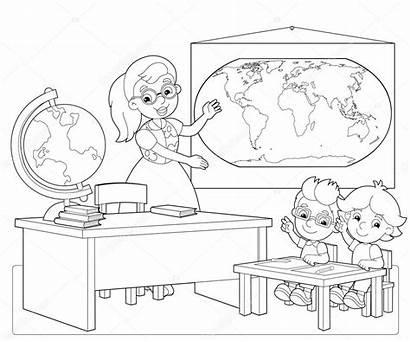 Classroom Coloring Children Illustration Illustrator Depositphotos