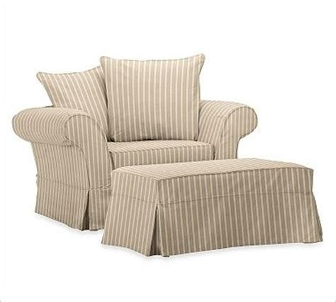 charleston chair and a half slipcover colby stripe khaki
