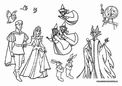 Coloring Pages Maleficent Beauty Sleeping Disney Printable