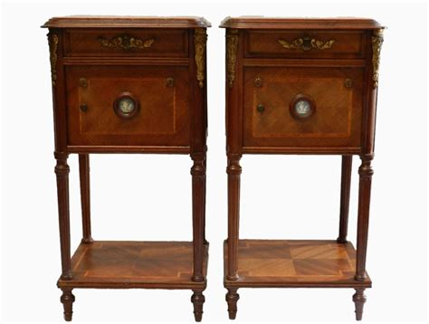 Unusual Pair C19 French Side Cabinets Bedside Tables With