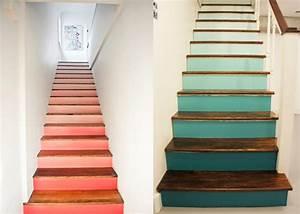 escalier contremarche peinte maison design bahbecom With peindre des escaliers en bois 1 quelle couleur pour repeindre un escalier deco cool