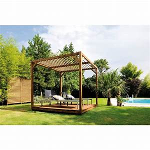 Fabriquer Pergola Bois : pergola en bois 256 x 256 cm 6 6 m2 cubik bricozor ~ Preciouscoupons.com Idées de Décoration