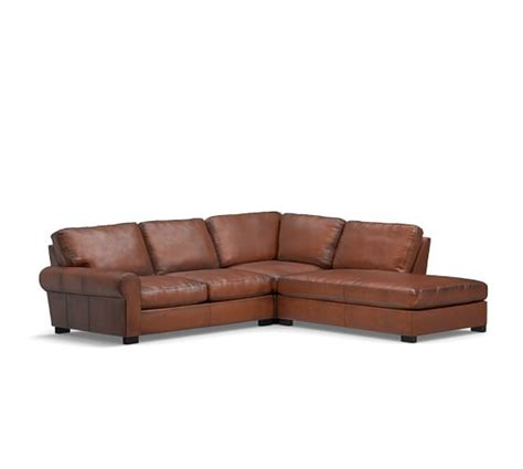 Pottery Barn Turner Roll Sofa by Turner Roll Arm Leather 3 Bumper Sectional Pottery