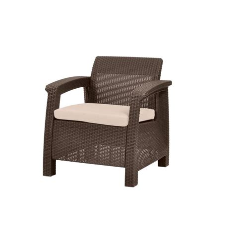 keter lounge chair cushions keter corfu brown all weather patio armchair with