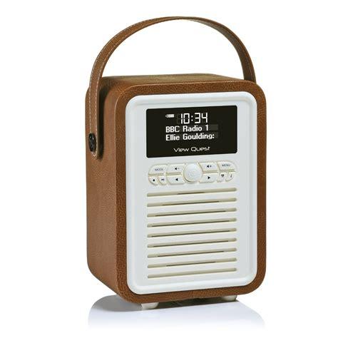 mini dab radio viewquest retro mini dab fm radio bluetooth speaker system with aux in brown ebay