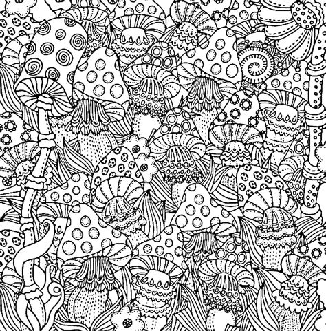 difficult coloring pages for adults mushroom coloring page