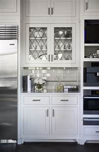 Leaded glass cabinet doors transitional kitchen for Glass doors for kitchen cabinets