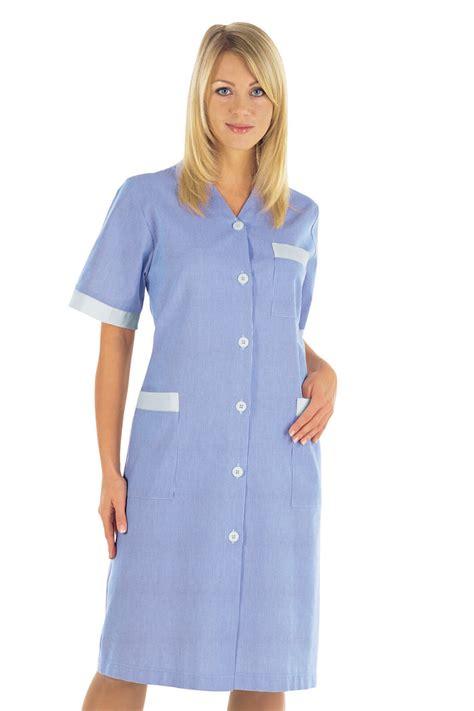 blouse femme de chambre hotellerie blouse de travail blanc é bleu 100 coton