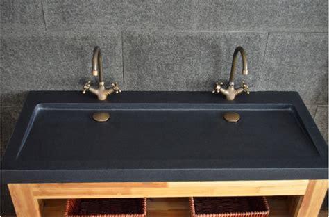 robinet de cuisine noir vasques en granit noir yate shadow à poser 120x50 haut de gamme living 39 roc