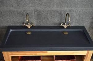 double vasques en granit noir yate shadow a poser 120x50 With salle de bain design avec double vasque pierre noire