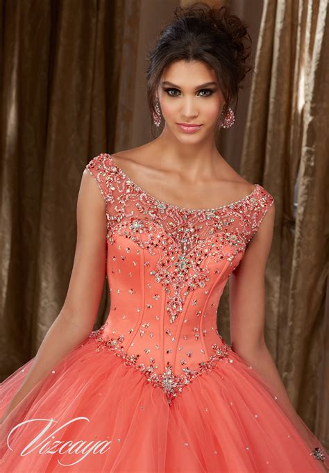 satin bodice   tulle quinceanera dress style