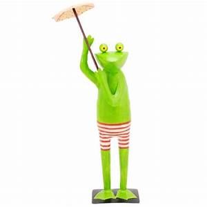 deko frosch aus metall mit schirm als blickfang gartenfigur With französischer balkon mit deko frosch für garten