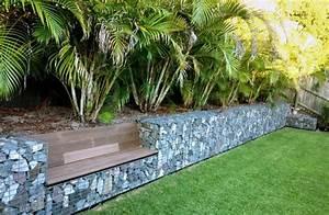 Steine Mauer Garten : mauer garten bauen bank gabionenzaun draht palmen garten gestalten pinterest ~ Watch28wear.com Haus und Dekorationen
