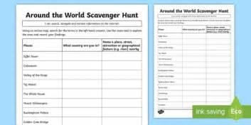 around the world scavenger hunt worksheet activity sheet