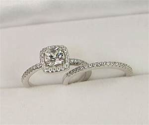 Halo engagement ring wedding ring set sterling silver for Cushion cut engagement rings with wedding band