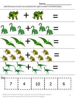 preschool dinosaur math worksheet schematic  wiring