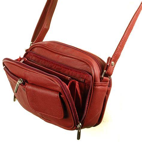Womens Leather Organizer Purse Shoulder Bag Handbag Cross