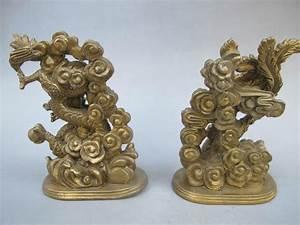 Bronze Chinese Dragon & Phoenix statue 5.51 inch