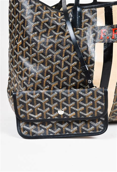 goyard black coated canvas leather chevron print monogram st louis pm tote ebay