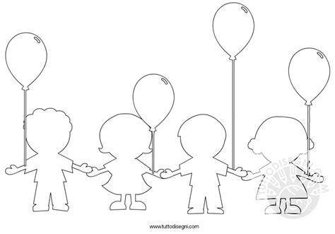 disegno stilizzato bambina con palloncino bambini con i palloncini da colorare tuttodisegni