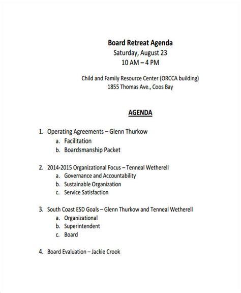 retreat agenda examples samples   examples
