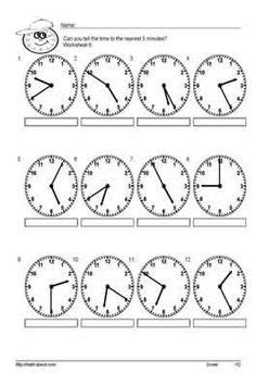 grade  telling time worksheet  telling time  minute
