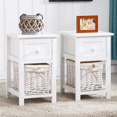 pair  retro white chic nightstand  side bedside table