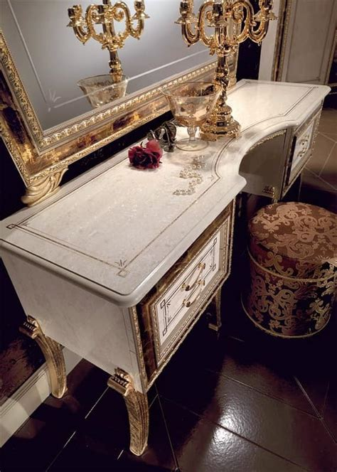 classic luxury dressing table white lacquered gilded