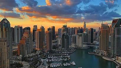 Dubai Marina Hdr Skyscrapers Bay Skies Wallpapers